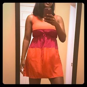 Dresses & Skirts - Colorblock Pink and Orange Dress with Waist Cinch